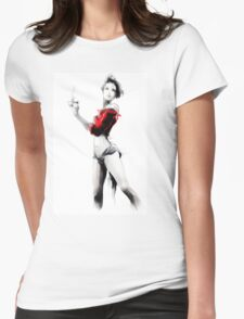 Beautiful woman holding a cup of coffee Womens Fitted T-Shirt