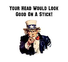 Uncle Sam Head Stick Photographic Print