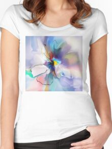 blue violet creative flower Women's Fitted Scoop T-Shirt