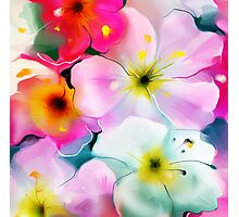 Bunch of flowers. Watercolor Photographic Print