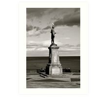 Captain Cook Statue black and white (whitby) Art Print