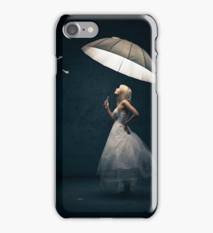 Girl with Umbrella and feathers iPhone Case/Skin