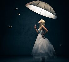 Girl with Umbrella and feathers by Johan Swanepoel