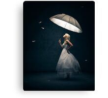 Girl with Umbrella and feathers Canvas Print