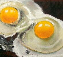 Raw Eggs, Oil Pastel Still Life, Realism by Joyce Geleynse