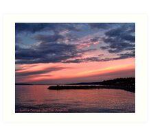 Pink Sunset over Puget Sound Art Print