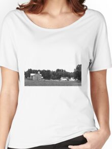 Amish Farm in black and white Women's Relaxed Fit T-Shirt