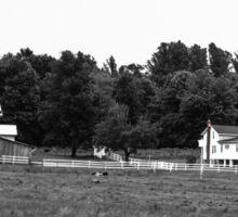 Amish Farm in black and white Sticker