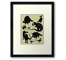 Silhouetted Dinosaurs Framed Print