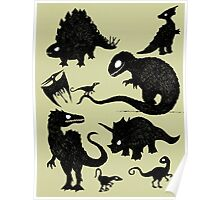 Silhouetted Dinosaurs Poster