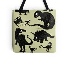 Silhouetted Dinosaurs Tote Bag