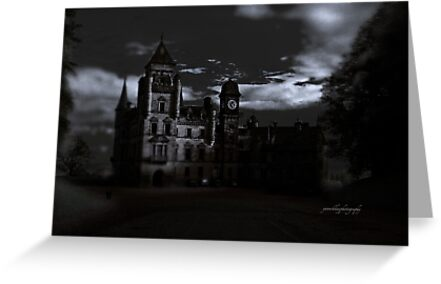 Spooky Night on Dunrobin Castle Black and White (Golspie, Sutherland, Scotland) by Yannik Hay