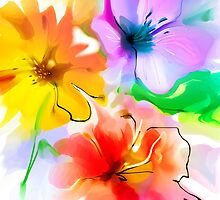 Bunch of flowers. Watercolor by Teni