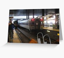 Amtrak Regional and MBTA Commuter Rail together at North Station Greeting Card