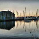 Sunset over Glasson Basin . by Lilian Marshall