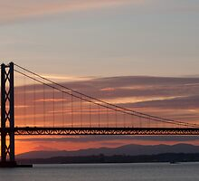 Sunset over the Firth of Forth - Road Bridge by Kenny Holt