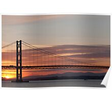 Sunset over the Firth of Forth - Road Bridge Poster
