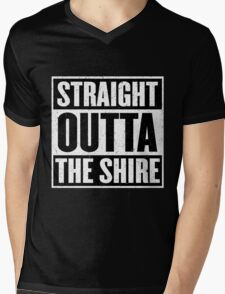 Straight Outta The Shire - Movie Mashup - Hobbit Homeboys - Nerd Humor - Hobbits Mens V-Neck T-Shirt