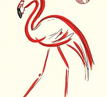 Flamingo - original watercolor painting - sumie by Rebecca Rees