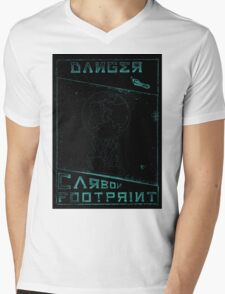 Danger, Carbon Footprint ( ii ) Cyan Blackout Mens V-Neck T-Shirt