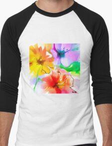Bunch of flowers. Watercolor Men's Baseball ¾ T-Shirt
