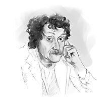 Kurt Vonnegut portrait grayscale Photographic Print