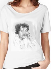 Kurt Vonnegut portrait grayscale Women's Relaxed Fit T-Shirt