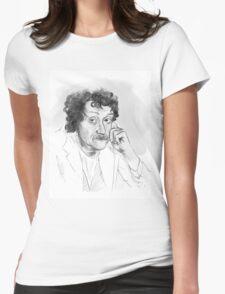 Kurt Vonnegut portrait grayscale Womens Fitted T-Shirt