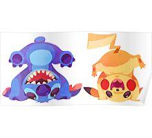 Stitch and Pikachu Poster