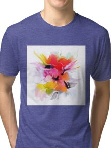 Bunch of flowers. Watercolor  Tri-blend T-Shirt