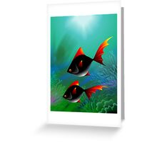 Fantasy of the fishes swimming in the sea	 Greeting Card