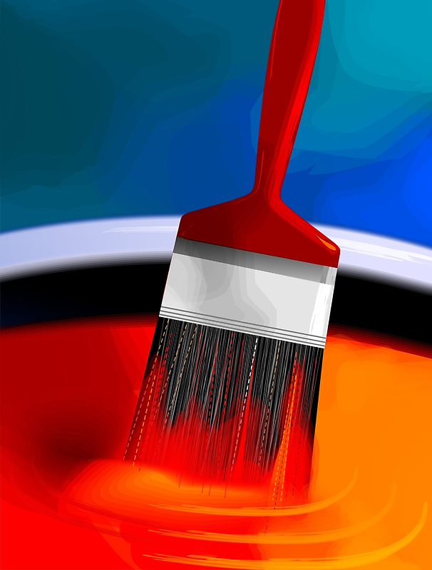 Painting brush immersed in the colourful paint	 by tillydesign