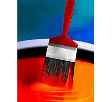 Painting brush immersed in the colourful paint	 Photographic Print