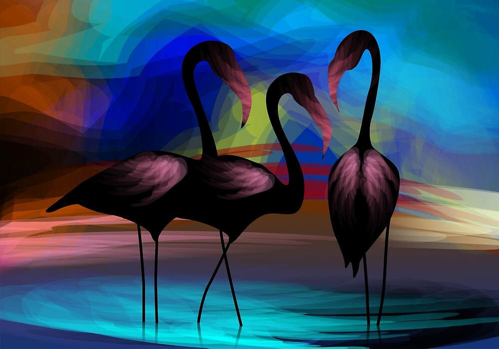 Appealing beauty of the cranes in the lake by tillydesign