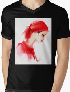 Fashion woman profile portrait  Mens V-Neck T-Shirt