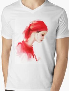 Fashion woman profile portrait  Mens V-Neck T-Shirt