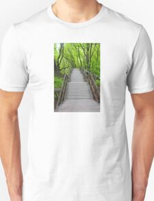 Wooden stairs to the Mons Klint, Denmark T-Shirt