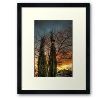Lamp Post in the Setting Sun Framed Print