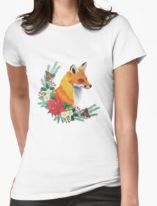 Christmas Fox Womens Fitted T-Shirt