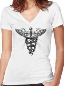 Caduceus  Women's Fitted V-Neck T-Shirt
