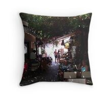 Shady Arcade. Kos Throw Pillow