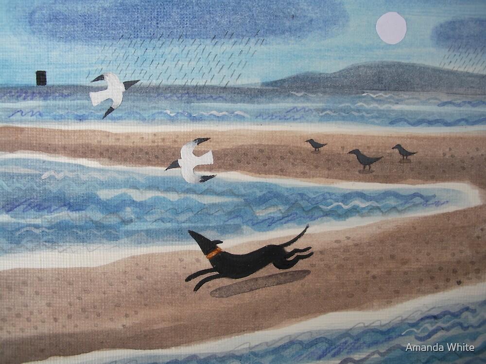 Evening Run, Full Moon and Nab Tower by Amanda White