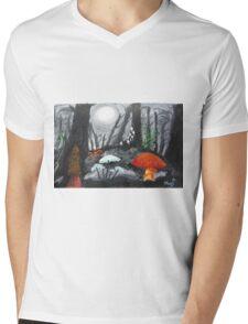 Moonlit Mushrooms Mens V-Neck T-Shirt