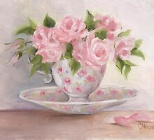 cup and saucer floral rose oil painting by Chris Hobel