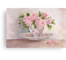 cup and saucer floral rose oil painting Canvas Print