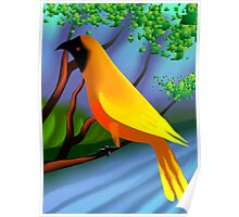 The bird enjoying the beauty of nature 	 Poster