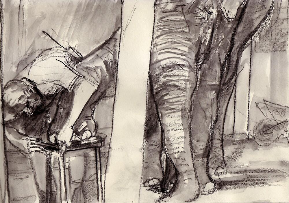 Elephant getting a manicure. by WoolleyWorld