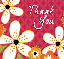 THANK YOU Card Frangipani Vintage Red by daisy-beatrice