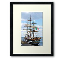 Sailing ship in the port Framed Print