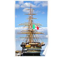 Sailing ship in the port Poster